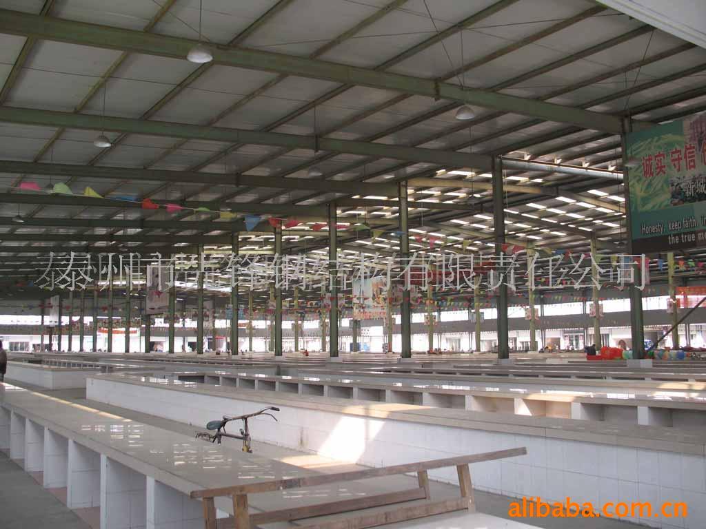 市场顶棚,大跨度,钢结构,屋顶